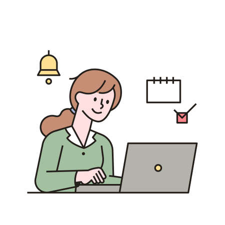 A woman is taking notes on a checklist alarm on her laptop. outline simple vector illustration.