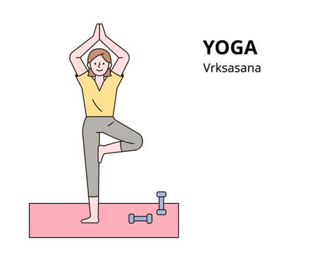 A woman is doing yoga. outline simple vector illustration.