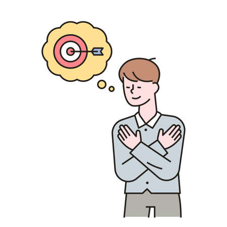 A man is imagining a goal and has a happy expression on his face. outline simple vector illustration. 일러스트