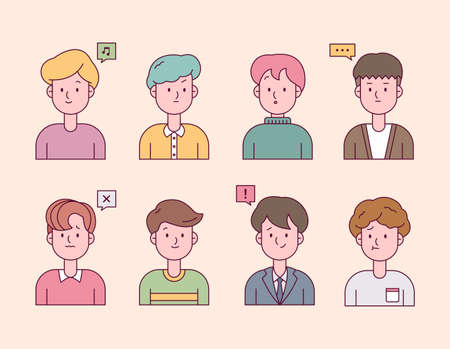 A collection of fashionable male characters upper body in various styles. flat design style minimal vector illustration. 일러스트