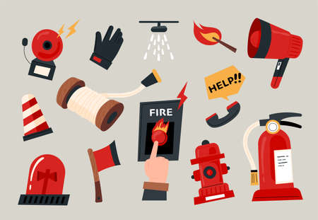 A collection of firefighters equipment. flat design style minimal vector illustration.