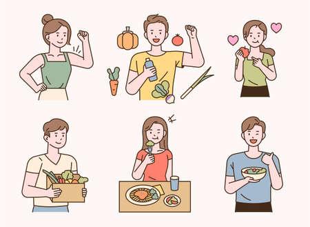 Vegetarian people with healthy vegetables fruits. flat design style minimal vector illustration. 일러스트
