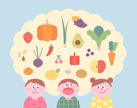 Kids love fresh vegetables and fruits. flat design style minimal vector illustration. 일러스트