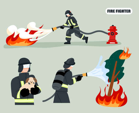 Firefighter putting out a fire with a hose connected to a hydrant. Firefighters rescued the dog. flat design style minimal vector illustration.