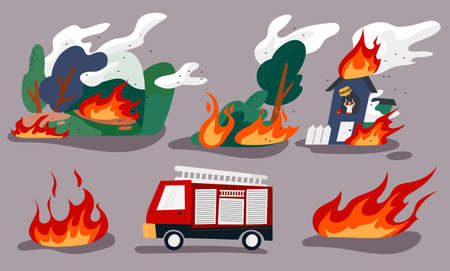 A burning forest, a man trapped in a burning house, and a fire engine. flat design style minimal vector illustration.