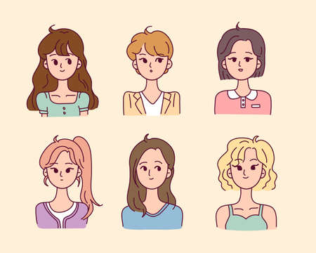 A collection of female characters upper body with various hairstyles. flat design style minimal vector illustration. 일러스트