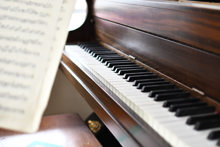 Wood piano and note key