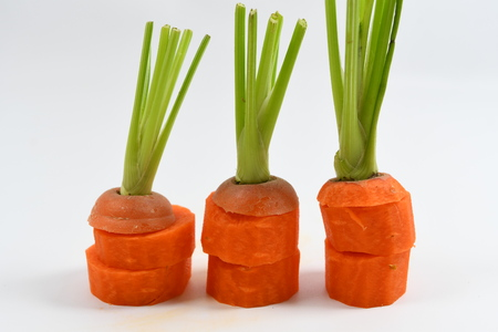 carrot pieces on the white background