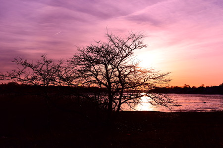 sunset in the winter in Hull , MA Imagens
