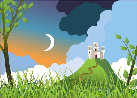 Standing alone fortress on a hill Stock Vector - 9239392