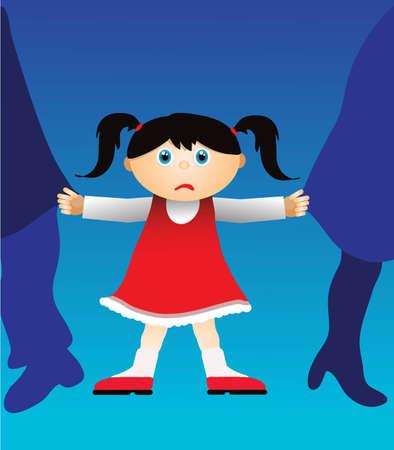 El niño está disgustado por el divorcio de los padres Ilustración de vector
