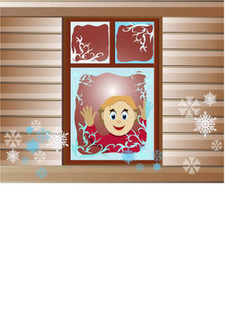 rejoices: The child rejoices to the first snow