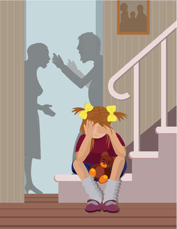 scheidung: Das traurige M�dchen h�rt, dass ihre Eltern rudern