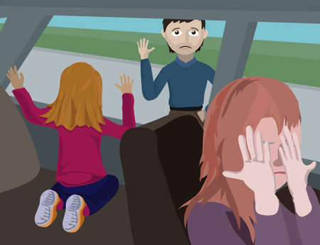 The girl waves to the father a hand leaving from it after divorce of parents Illustration