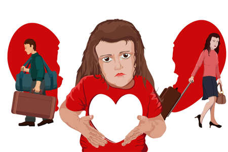 leave: The child grieving heart longs for parents that have divorced Illustration