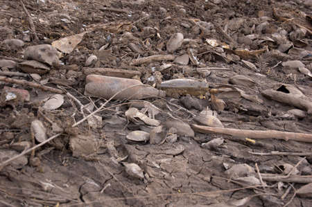 set of garbage and mud in the dried reservoir Stock Photo - 17239103