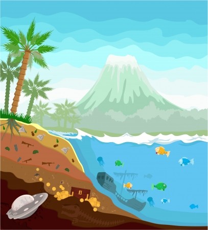 island landscape showing layers of terrestrial breed time layers Stock Vector - 17666388