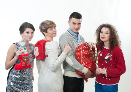Three girls and the guy on a New Year s holiday photo