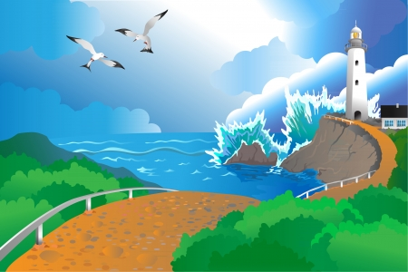 deserted: deserted sea coast with a running wave Illustration