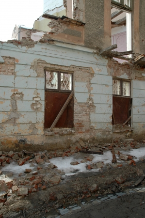dampness: remained after destruction the house costs and collapses Stock Photo