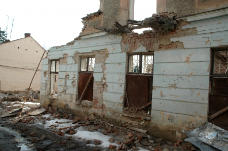 desolation: remained after destruction the house costs and collapses Stock Photo