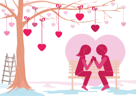 young man speaks in love to the girl on a bench Stock Vector - 24905769