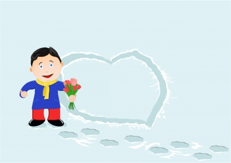 girl happy: the young man trod heart from snow and wishes the girl happy Valentine s day