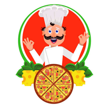 cook made tasty pizza and advertizes it 일러스트
