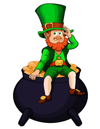 cheerful leprechaun  in green clothes sits on a pot full of gold coins