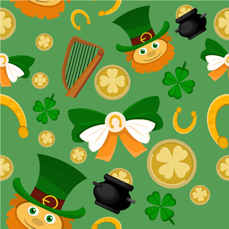 Elements of a holiday of Saint Patrick in a background