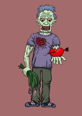 the zombie costs holding in hand flowers and heart in love 일러스트