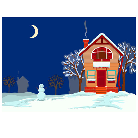 idyllic: Idyllic night winter landscape with lodges and snow