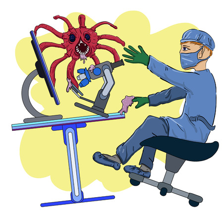 attacked: the scientist in laboratory and attacked him a virus Illustration