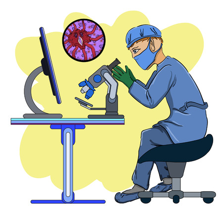the scientist in laboratory we investigate viruses in a microscope