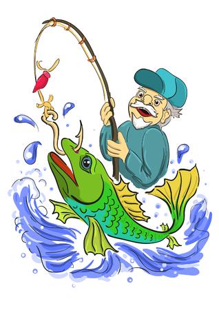 un p�cheur: Le vieux p�cheur a attrap� de gros poissons Illustration