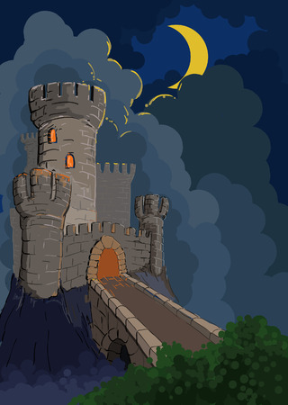 fortress: alone standing lock surrounded with a ditch and standing in the light of the night moon Illustration