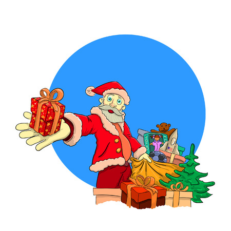 reaches: Merry Christmas grandfather took out a bag of gifts and reaches us. Illustration