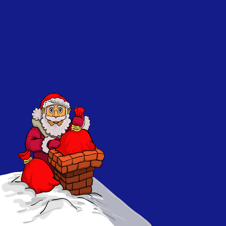 Santa Claus sitting on a roof and puts the bags with presents in a chimney. 일러스트