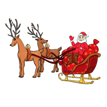 Santa Claus sitting in his sleigh full of gifts, to be borne by the deer. 일러스트