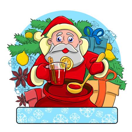 borracho: Borracho alegre Santa Claus de pie cerca de un árbol de Navidad en el que crecen limón y trata toda bebida embriagante llamada vino caliente