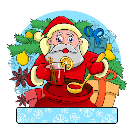 santa claus background: Cheerful drunk Santa Claus standing near a Christmas tree on which grow Lemon and treats all intoxicating drink called mulled wine