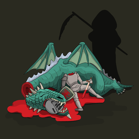 slain: Death standing and looking at each other slain knight and dragon. Illustration