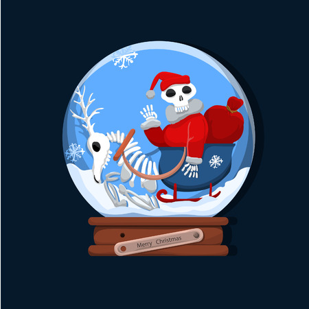 Skeleton Santa and his reindeer in a glass bowl as a joyous spirit of Christmas.