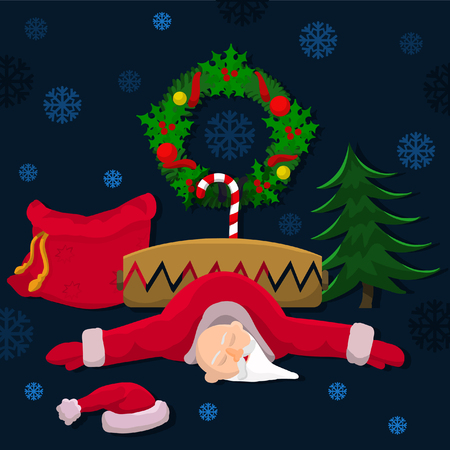 robbed: Christmas Santa got into the trap and robbed .... Illustration
