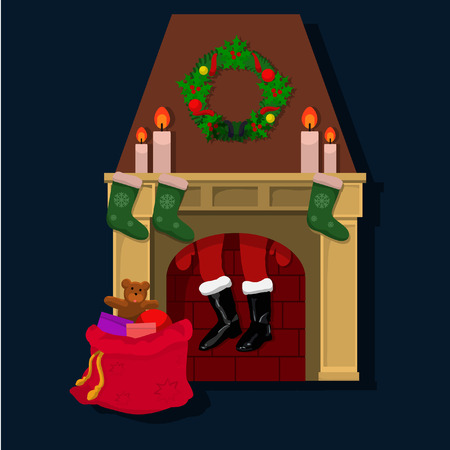 Santa Claus stuck in the chimney accidentally hangs