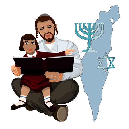 talmud: Dad reads the Talmud child sitting on hands Illustration