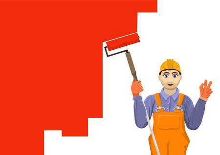 plasterer: painter plasterer paint roller surface Illustration
