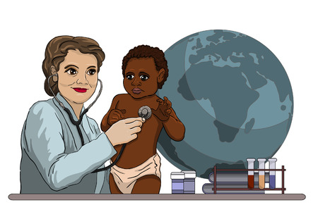 Doctor examines a sick child of the African type 일러스트