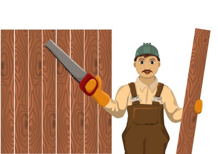 artisan: Carpenter holds a plaque and are ready to cut