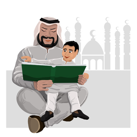 Dad reads the Koran child sitting on hands